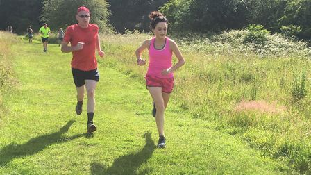 Runners approach the finish to last Saturday's Highwoods parkrun. Picture: CARL MARSTON