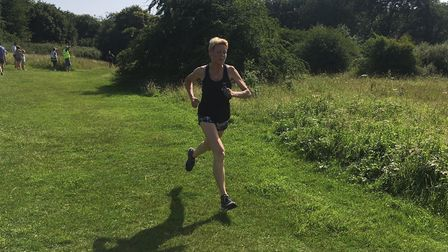 Debbie Cattermole, of Colchester Harriers, on her way to finishing second female at last Saturday mo