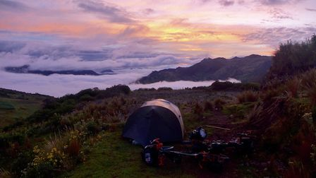 They spent 86 nights of the trip in a tent. Picture: ROO CLARK