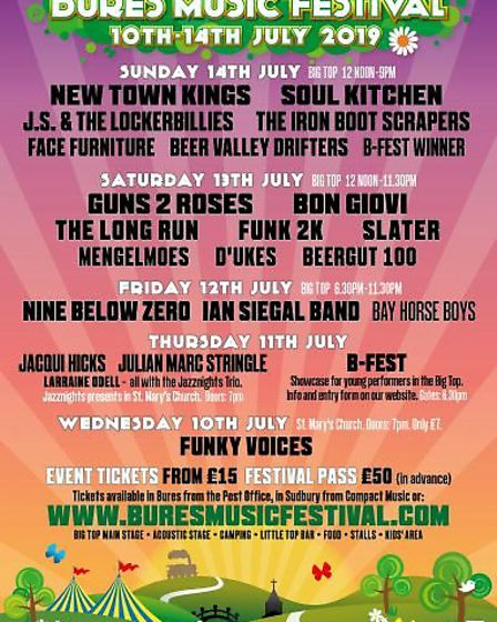 The full line-up for this years Bures Musice Festival Picture: BURES MUSIC FESTIVAL