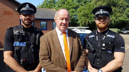 Suffolk police and crime commissioner Tim Passmore with Operation Sentinel officers Picture: RACHEL