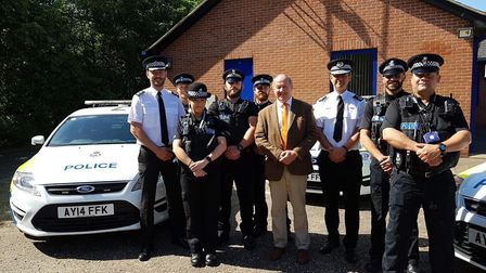 Suffolk police and crime commissioner Tim Passmore with officers from Suffolk police at the launch o