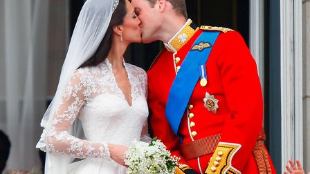 The Duke and Duchess of Cambridge engaged in a public kiss on their wedding day in 2012. Picture: Ch