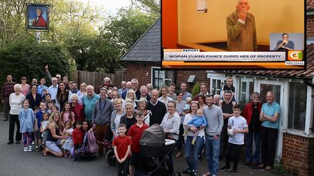 Villagers at the Marquis Cornwallis pub and (inset) owner Steven White appears in court Picture: CMC