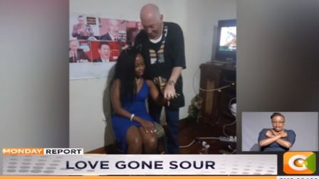 Steven White and his fiancee Peris Njambi pictured getting engaged Picture: KENYA CITIZEN TV/YOUTUBE
