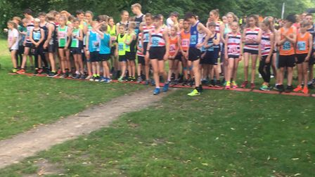 The start of the junior race at tonight's Bury Friday Five, in Nowton Park. Picture: CARL MARSTON