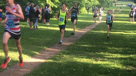 Action from the older of the two junior races at the annual Bury Friday Five
