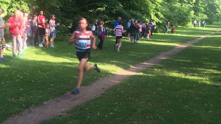 Lewis Sullivan, on his way to another victory in the junior race at the Bury Friday Five. Picture: C