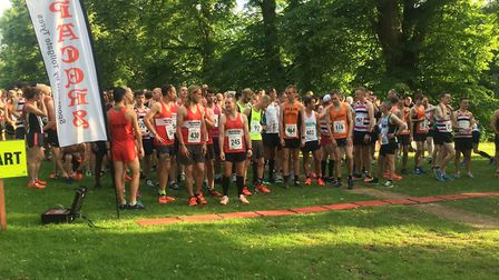 Runners congregate for the start of the main five-mile race at the Bury Friday Five. Picture: CARL M