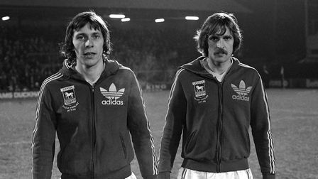 An iconic moment in the history of Ipswich Town Football Club as Arnold Muhren is joined by fellow D