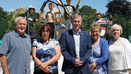 Skatepark users and councillors attended the ceremony in Belle Vue Park Picture: BABERGH DISTRICT CO