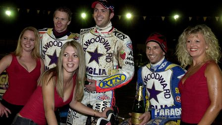 Shane Parker, right, pictured with Scott Nicholls and Kim Jansson at Foxhall back in 2003. The Aussi