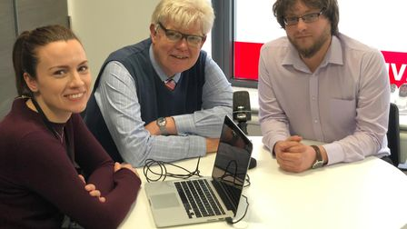 From left to right: The EADT's Rachel Edge, Paul Geater and Jason Noble create political podcasts. P