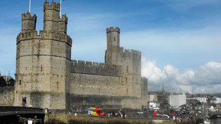 Castell Caernafon (or Caernavon Castle to English visitors), one of the jewels of North Wales. Pictu
