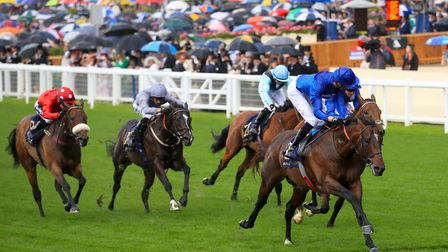 Blue Point ridden by jockey James Doyle on his way to winning the King's Stand Stakes during day one