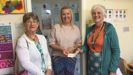 Rotary Club of Diss and District president Alison Bannister (right) and Margaret Wuidart (left), cha