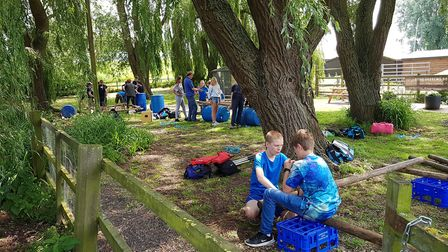 There was an opportunity for families to build their own rafts. Picture: RACHEL EDGE