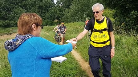 Voulenteers helped runners along the route of the Orwell Challenge in Suffolk. Picture: RACHEL EDGE
