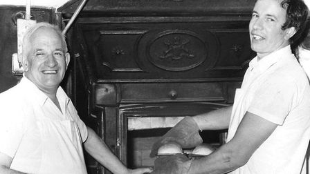Roy Palmer and son Kenneth at the brick ovens in 1975 Picture: FAMILY COLLECTION