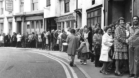 Shoppers queuing along Station Road, Stowmarket, in 1975, during one of the strikes that caused a sh