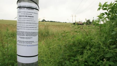 The planning inquiry into plans to build 150 homes on Skylark Fields, off Station Road in Long Melfo
