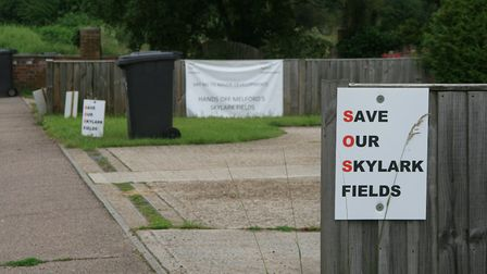 Opposition by residents of Long Melford to the development plan for Skylark Fields has been strong P