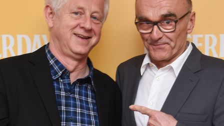 Director Danny Boyle, with writer Richard Curtis, left, at the Gorleston Palace cinema for the local