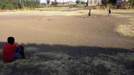 This is the pitch that Ahmed plays football on near his home in Kenya. Photo: Contributed