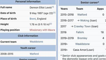 Lewis's Wikipedia entry has been changed during his time on Love Island.