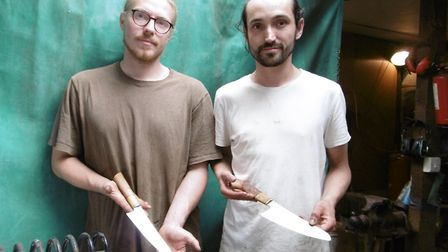 Bespoke kitchen and chef knife makers Tobias Ford and Max Clapson of Colbert Forge at their workshop