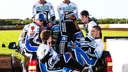 The Witches on parade at Peterborough in 2014, with the current team boss Ritchie Hawkins, front rig