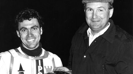 The late Billy Sanders, pictured with former Ipswich Star speedway writer Elvin King. This was one