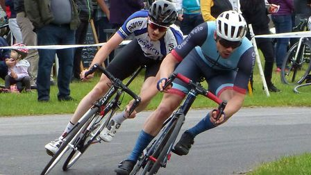 Orwell Velo and Ipswich BC members test the limits of adhesion at Trinity Park. Picture: FERGUS MUIR