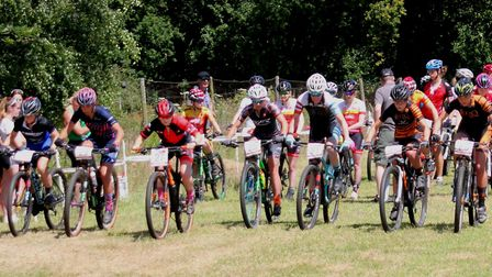 The Elite/Expert Female start at the National Series MTB races near Norwich, with Felixstowe rider E