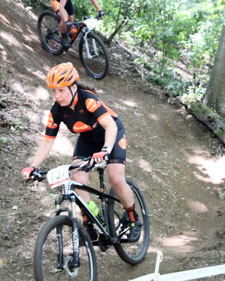 Thetford rider Jodie Cole in the ravine at the National Series MTB races near Norwich. Picture: JAC