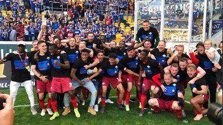 Paderborn celebrate promotion to the German top flight. Picture: SCPADERBORN07/TWITTER