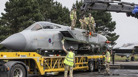 Fitters begin to prepare to work on the fuselage Picture: RAF HONINGTON