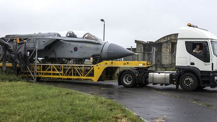 A Tornado is driven in on a lowloader into the base Picture: RAF HONINGTON