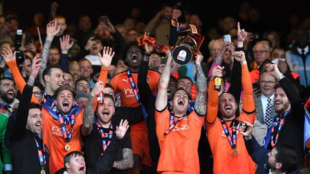 Luton Town celebrate wnning the 2018/19 League One title. Photo: PA