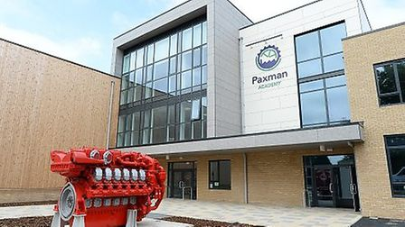 The MAN marine engine outside the entrance to the new Paxman Academy. Picture: WARREN PAGE
