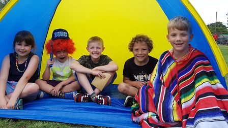 Pupils camping out for Happiness Festival Picture: RACHEL EDGE