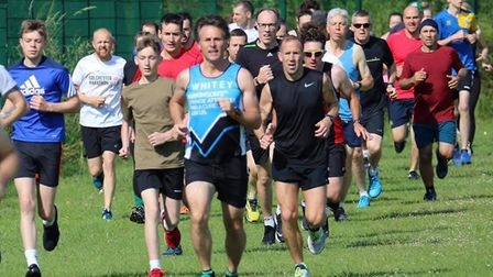 Runners set off at the start of the Great Cornard parkrun, which could be exeptionally hot today Pic
