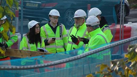 Cllr Chris Bentley on site at the A133 Ipswich Road roadworks. Picture: ESSEX HIGHWAYS