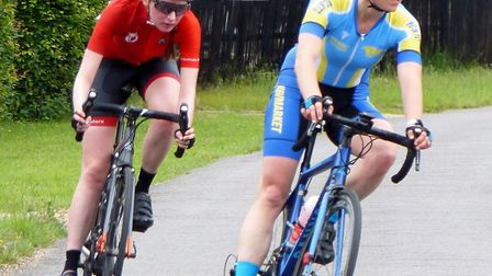 Nicola Lynch (Newmarket T&CCC, right) and Amy Johnson (West Suffolk Whs) in the Croxton road race.