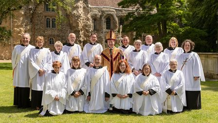 The Rt Rev Martin Seeley, Bishop of St Edmundsbury and Ipswic,h pictured with Deacons ordained at St