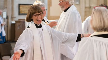 Joyous moment at the Ordination of Priests ceremony at St Edmundsbury Cathedral on Saturday, June 29