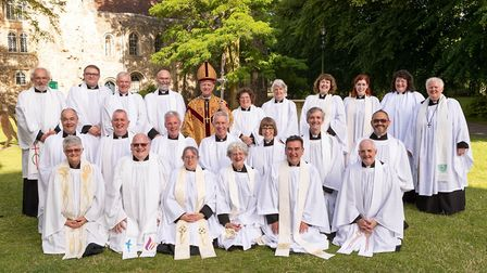 The Rt Rev Martin Seele,y Bishop of St Edmundsbury and Ipswich, pictured with Priests ordained at St