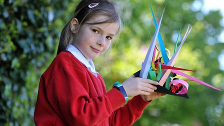 Isla with her paper sculpture Picture: SARAH LUCY BROWN