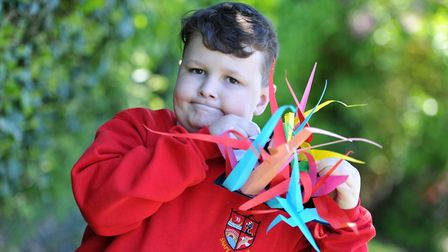 Ollie with his paper sculpture Picture: SARAH LUCY BROWN