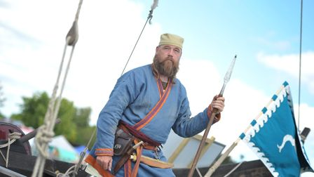 Brian Wilson on a saxon ship Picture: SARAH LUCY BROWN